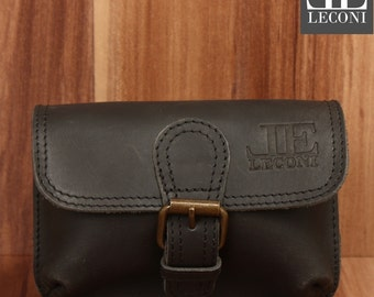 LECONI belt bag Fanny Pack waist bag Buffalo leather black LE3028