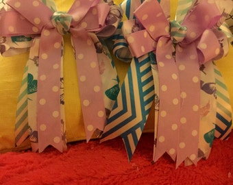 Horse Show Bows. Equestrian Bows, Turquoise And Purple Bows. Butterfly Equestrian Horse Show Bows. Set Of Two Show Bows