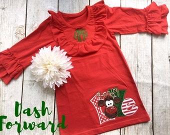 Monogrammed Christmas Ruffle Dress, Santa, Rudolf, Love, Glitter