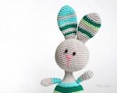 Easter Bunny, Easter basket idea, toy rabbit, animal nursery, nursery decor, rabbit knitted crochet, funny bunny, green, purple