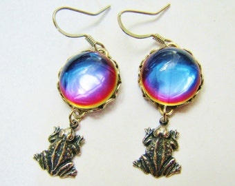 Rainbow Czech Cabochon & Frog Earrings ERG15