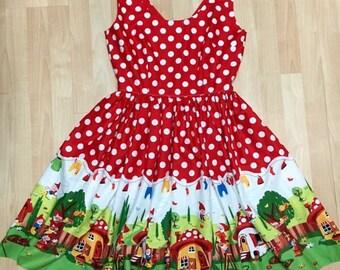 Red Polka Dot Gnomes Dress