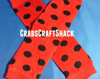Baby Legwarmers - Dots / Black on Red (1003) Ladybug