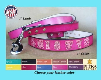 Custom made Dog Collar and Leash - Large Dog Collar & Leash - Personalized Dog Collar and Leash - Leather collar-leash set made in USA
