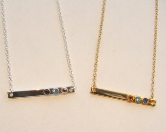 Mother's Birthstone Bar Necklace, Mother's Day Gift, Minimalist Bar Necklace