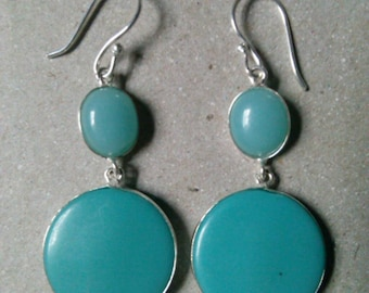 Turquoise and blue chalcedony earrings