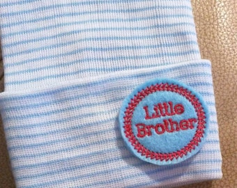 A Best Seller! Newborn Hospital Hat. Now w/blue and RED LITTLE Brother Applique.  Every New Baby Boy Should Have! Adorable!