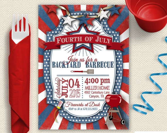Fourth of July Invitation, 4th of July Invitation, Backyard BBQ Invitation, BBQ Invitation, Backyard Barbecue Invitation, Independence Day