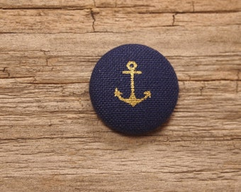 Navy and gold anchor print fabric covered buttons (size 32)