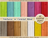 SALE wood digital paper pack natural and colored pastel digital wood papers digital scrapbooking kit clipart aqua mint coral pink white