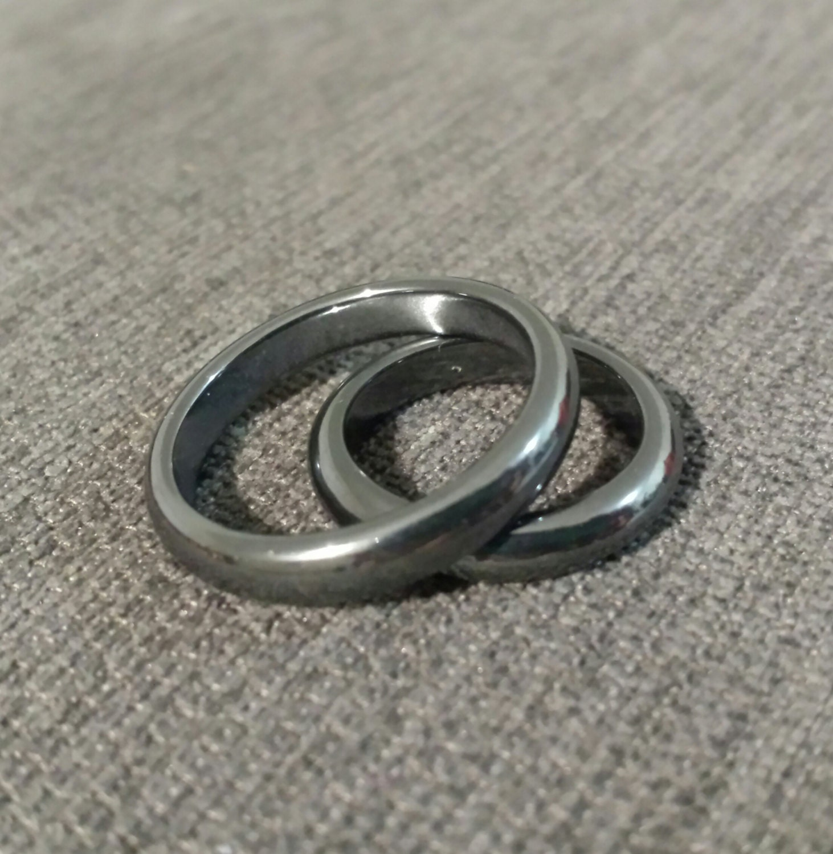 hematite ring silver black color menwomen domed