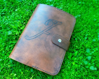 Handmade leather iPad air case in antique dark brown