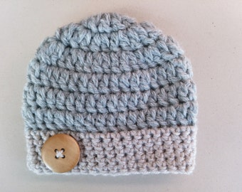 Wool baby hat, crochet baby hat, baby boy hat, newborn boy hat, baby boy beanie, newborn baby hat, crochet newborn hat, button baby beanie