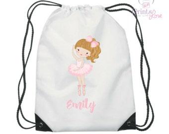 Personalised Ballet / swim bag /  pump bag /  gym bag / school bag / PE bag / kids / children / Ballerina