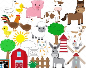 Farm Animals - Cutting files Digital SVG DXF EPS Vinyl cut Design files Instant Download Personal Commercial use (00073c)