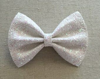 Irridescent White Glitter Bow Tie and Bow, Glitter Hair Bow Tie and Bow