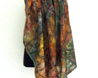 Felted scarf shawl  in multi colour  - large and wide but light and airy felt shawl - woolen, felted,  transparent, breathable