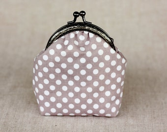 50% OFF>> Coin Purse Gray Polka Dots Frame Purse Girlfriend Gift Mom Sister Gift Coin metal purse Coin Wallet Kiss lock frame purse