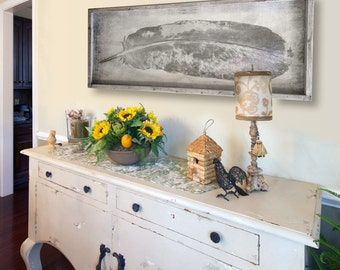 """Cottage Shabby Chic Eagle Feather Artwork on Wood - Home Decor - 49x16"""" Native American Indian Western Original Art - Made in USA"""