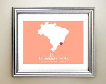 Brazil Custom Horizontal Heart Map Art - Personalized names, wedding gift, engagement, anniversary date
