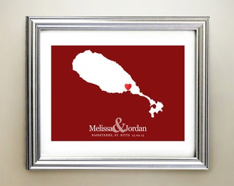 St Kitts Custom Horizontal Heart Map Art - Personalized names, wedding gift, engagement, anniversary date