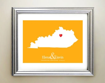 Kentucky Custom Horizontal Heart Map Art - Personalized names, wedding gift, engagement, anniversary date