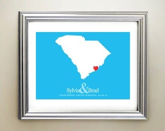 South Carolina Custom Horizontal Heart Map Art - Personalized names, wedding gift, engagement, anniversary date