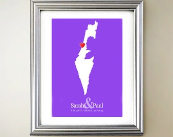 Israel Custom Vertical Heart Map Art - Personalized names, wedding gift, engagement, anniversary date