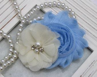 Light blue hair clips, light blue flower girl hairclip, light blue and ivory flower hair accessory, baby girl hair bows hair accessories