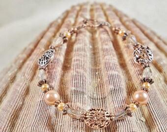Bracelet, Peach Bracelet, Pearl Bracelet, Glass Pearl and Peach Crystal Beaded Bracelet, Copper Tone Bracelet, Rose Tone Bracelet