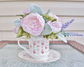 Flower Arrangement, Tea Cup Arrangement with White and Pink Flowers and Lavender Sprigs with Lambs Ear, Small Arrangement, Mothers day