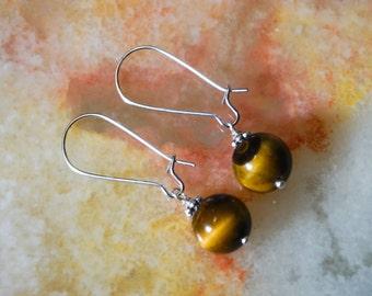 Tiger Eye Earrings, Gemstone Earrings, Silver Plated Earrings,Brown Earrings,Earrings Hooks,Silver Earrings,Kidney Earrings