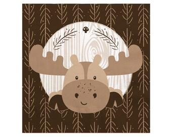 Woodland Beverage Napkin - Woodland Creatures Baby Shower or Birthday Party Supplies - Woodland Animals Napkin - Moose - 16 Count
