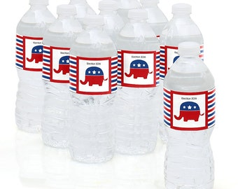 Election - Political Party  (R) - Election Party Water Bottle Sticker Labels - Election Party Supplies - 10 Count