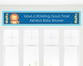 Lion Boy Banner - Custom Baby Shower or Birthday Party Decorations