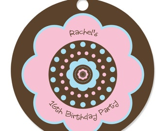 Trendy Flower Personalized Party Tags - Baby Shower or Birthday Party DIY Craft Supplies- 20 Count