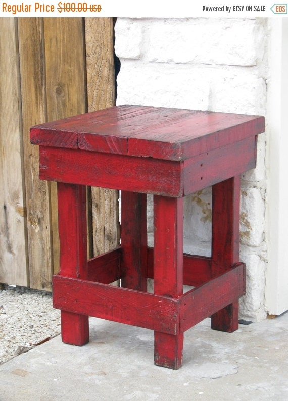 On sale small red end table side table by dougandcristydesigns for Red side table