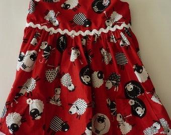Girls' Lamb Print Sun Dress with Hair Bows