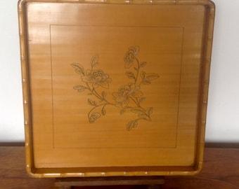 Vintage Bamboo Tray. Small Tea Tray. 1960's.