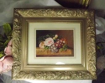 Floral Picture, Vintage Look, Framed Floral Still Life