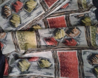 Vintage 1950s 1960s Barkcloth NEW OLD STOCK Mid Century upholstery fabric 6 yards plus