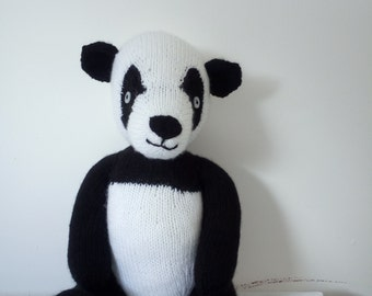 Hand knitted panda soft toy by Liz