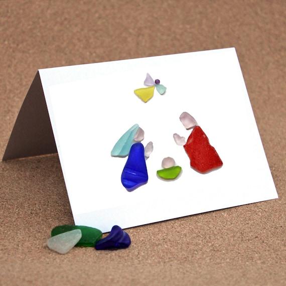 Christmas card or notecard sea glass nativity i by