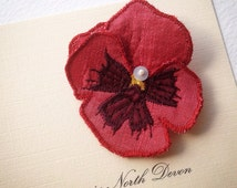 Pansy flower brooch,pin, 6m in pure silk.