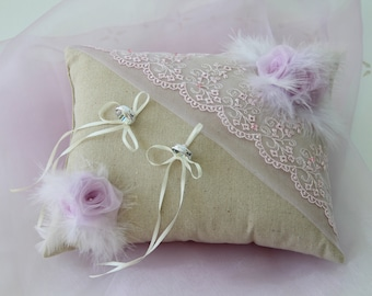 Wedding cushion ring cushions in linen with lace flower beads and feathers