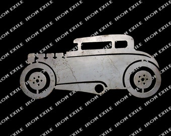Hot Rod Coupe Metal Cut Out Sign Wall Garage Art Street Rat Rod Plasma Cut