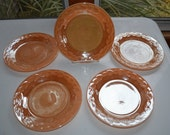Fire King Laurel - set of 5 - Peach Iridescent Lusterware - Salad or Dessert Plate - 1950s Vintage