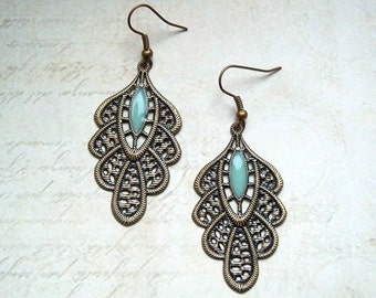 Earrings in bronze and turquoise Oriental look