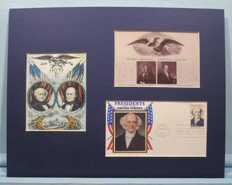 Honoring President Martin Van Buren and First day Cover of the Van Buren stamp