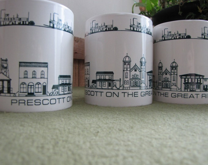 Vintage Great River Road Coffee Mugs, Set of Four (4) Prescott WI Creative Ceramics By Beck